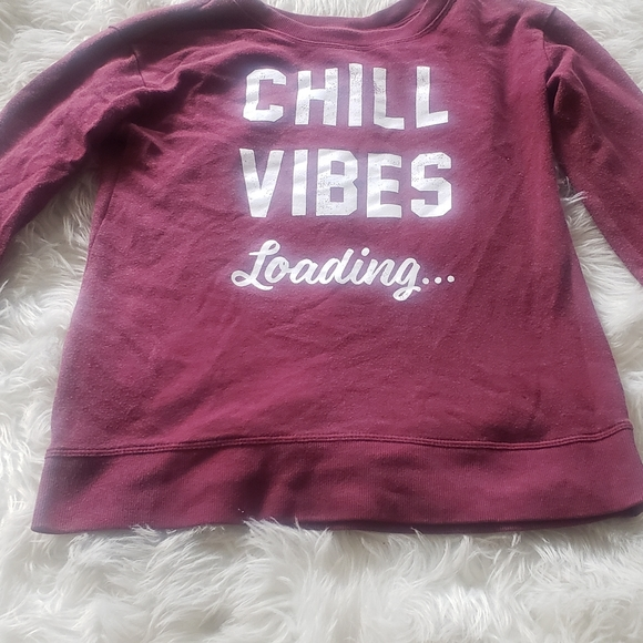 """Justice Burgundy PullOver  """"Chill Vibes"""""""